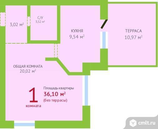 1-комнатная квартира 48,57 кв.м