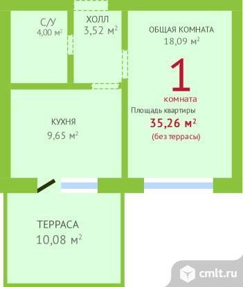 1-комнатная квартира 46,08 кв.м