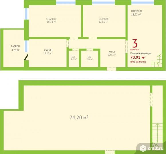 3-комнатная квартира 156,55 кв.м