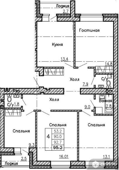 4-комнатная квартира 95,2 кв.м