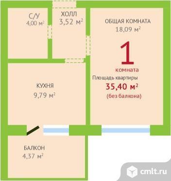 1-комнатная квартира 40,77 кв.м