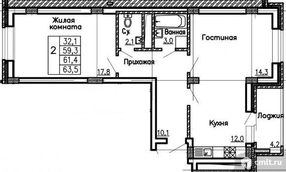 2-комнатная квартира 63,5 кв.м