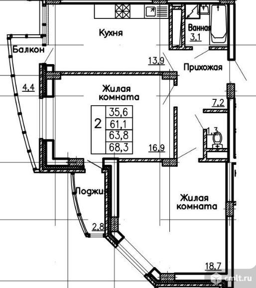 2-комнатная квартира 68,2 кв.м