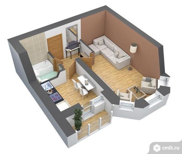 1-комнатная квартира 34,8 кв.м