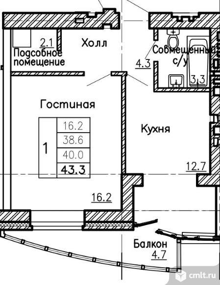 Продаю 1-комн. квартиру, 43.3 м2