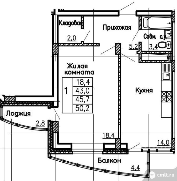 Продаю 1-комн. квартиру, 50.2 м2