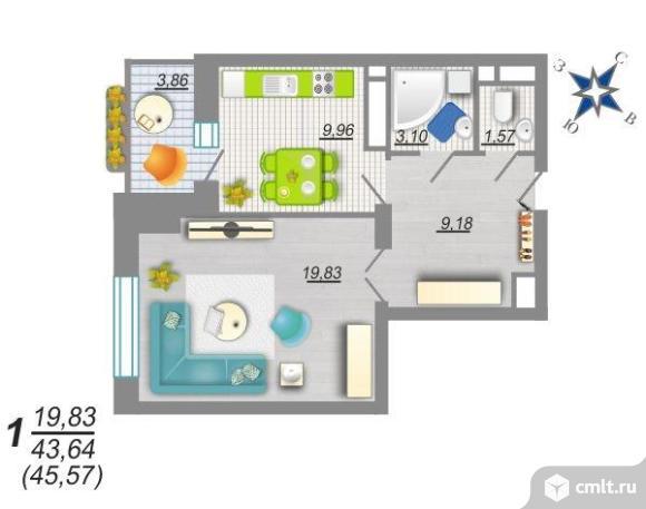 1-комнатная квартира 45,57 кв.м