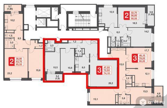 Продается 3-комн. квартира 72.5 кв. м