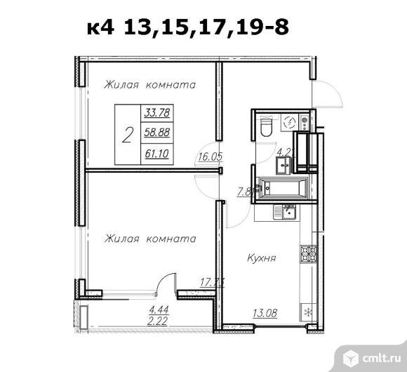 2-комнатная квартира 61,1 кв.м