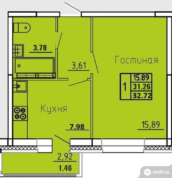 1-комнатная квартира 32,32 кв.м