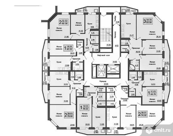 2-комнатная квартира 74,16 кв.м