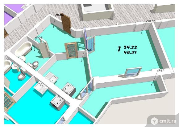1-комнатная квартира 49,2 кв.м