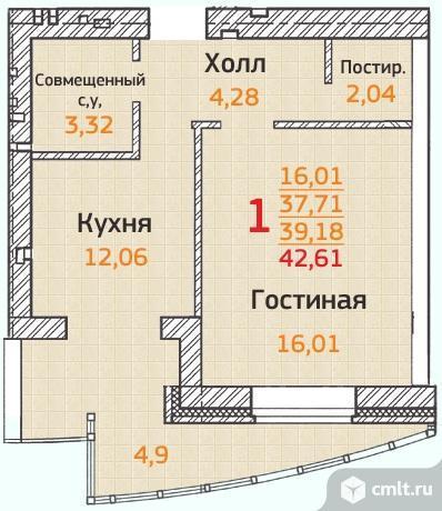 Продаю 1-комн. квартиру, 42.61 кв.м.
