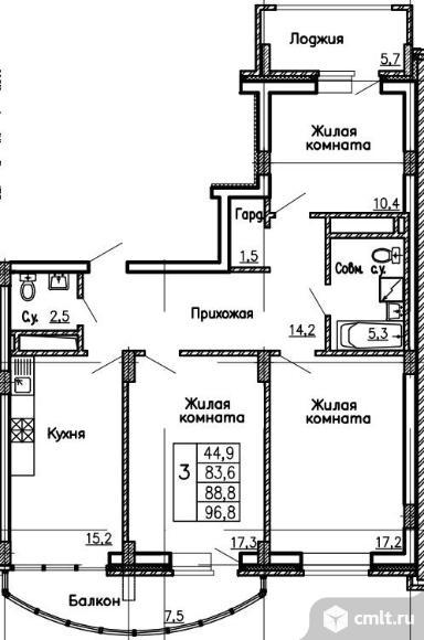 Продаю 3-комн. квартиру, 96.8 кв.м.