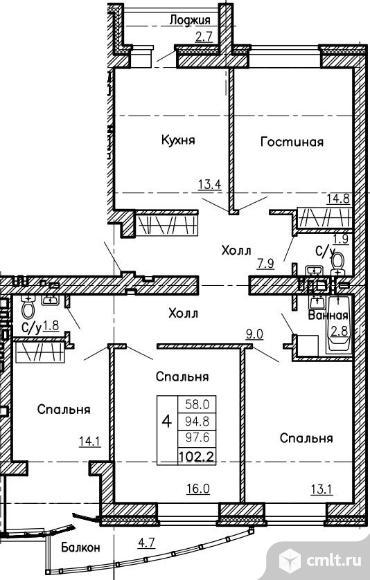 Продам 4 комн. квартиру, 102.2 кв.м.