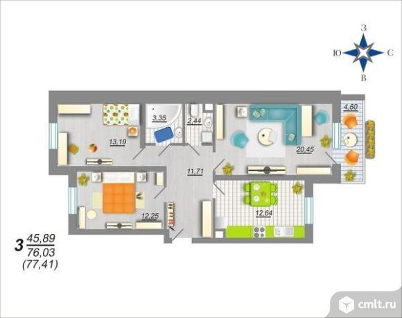 3-комнатная квартира 77,41 кв.м