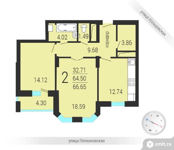 2-комнатная квартира 69,5 кв.м