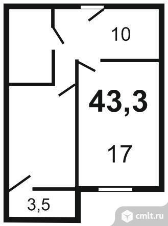 Продается 1-комн. квартира 43.3 м2