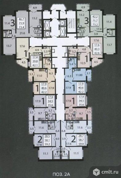 2-комнатная квартира 59,8 кв.м
