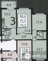 3-комнатная квартира 73,2 кв.м