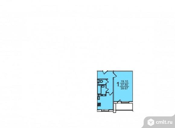 1-комнатная квартира 39,69 кв.м