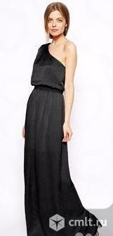 Черное платье на одно плечо макси длина (Великобритания). Фото 1.