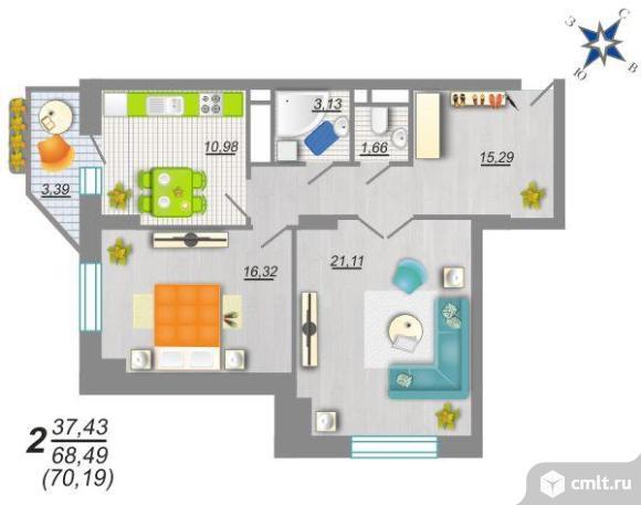2-комнатная квартира 70,3 кв.м