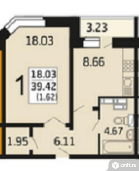 1-комнатная квартира 41,04 кв.м