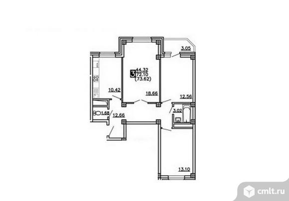 3-комнатная квартира 73,62 кв.м