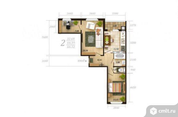 2,5-комнатная квартира 66 кв.м