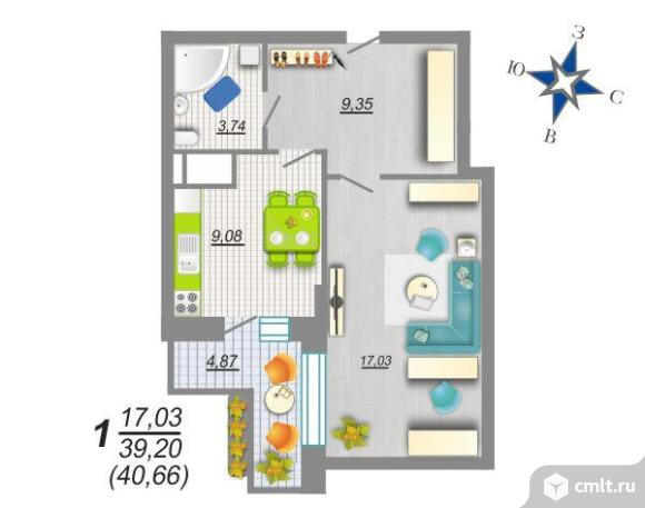 1-комнатная квартира 40,66 кв.м