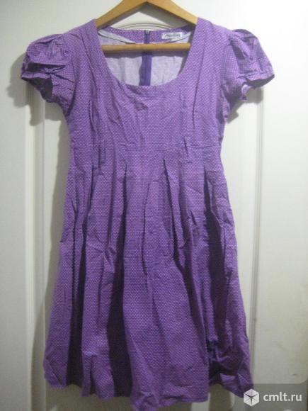 Платье фиолетовое в горошек