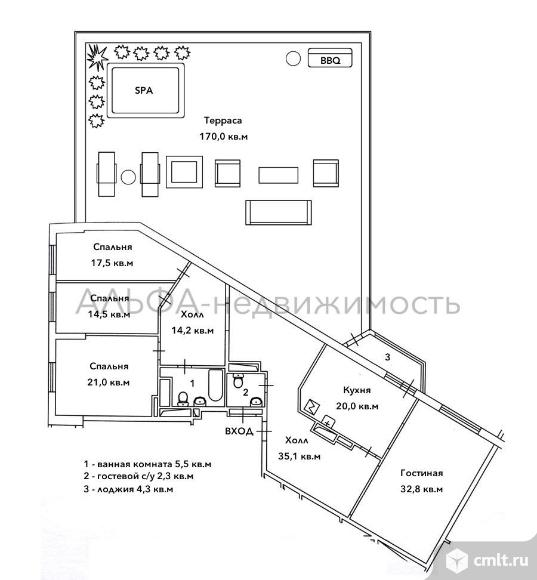 Продается 4-комн. квартира 161 кв.м