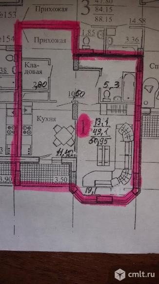 1-комнатная квартира 50,75 кв.м