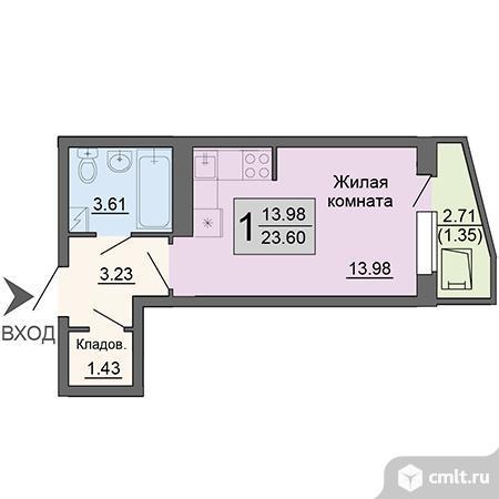 1-комнатная квартира 23,6 кв.м