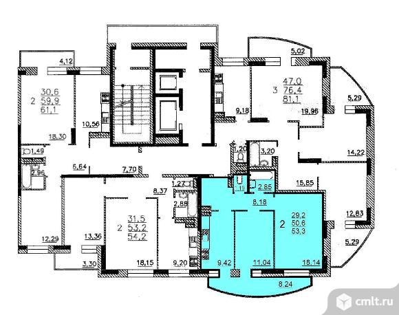 2-комнатная квартира 53 кв.м