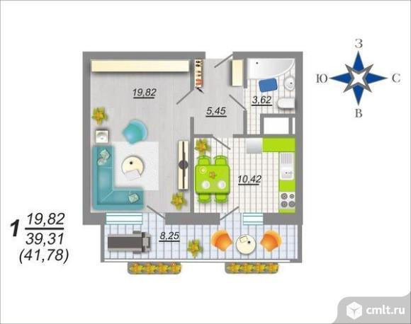 1-комнатная квартира 41,78 кв.м