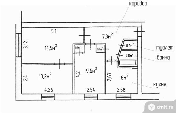 3-комнатная квартира 51,4 кв.м
