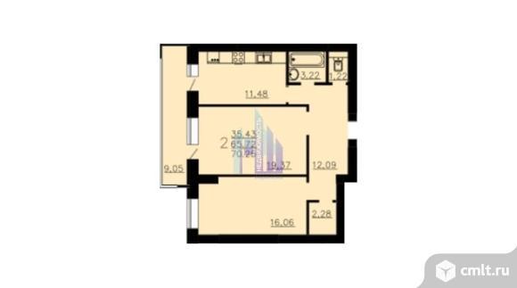 2-комнатная квартира 70,54 кв.м