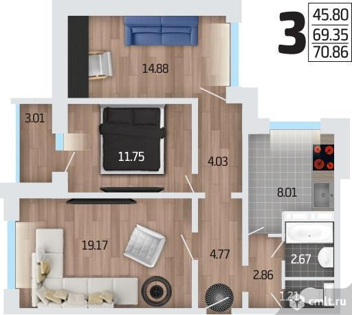 3-комнатная квартира 70,86 кв.м