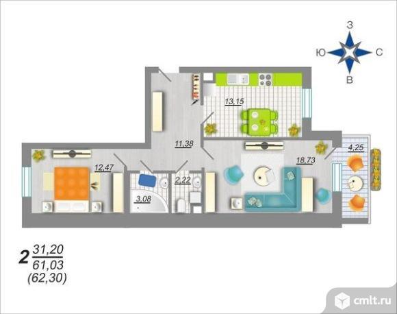 2-комнатная квартира 62,3 кв.м