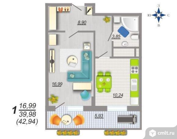 1-комнатная квартира 43,7 кв.м