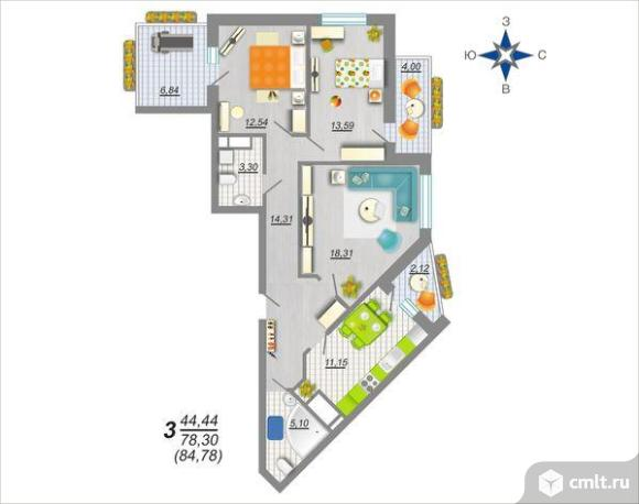 3-комнатная квартира 84,8 кв.м