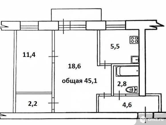 2-комнатная квартира 45,1 кв.м