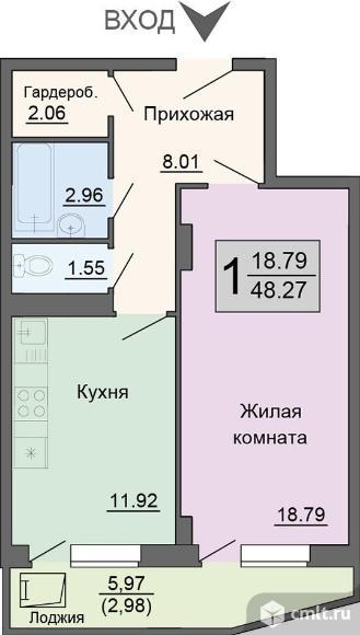 1-комнатная квартира 48,27 кв.м