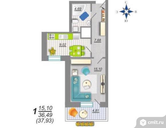 1-комнатная квартира 37,45 кв.м