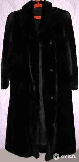Шуба мутон, натуральная, чёрная