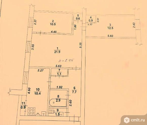 3-комнатная квартира 70,9 кв.м