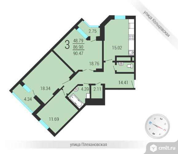 3-комнатная квартира 94 кв.м. Фото 6.