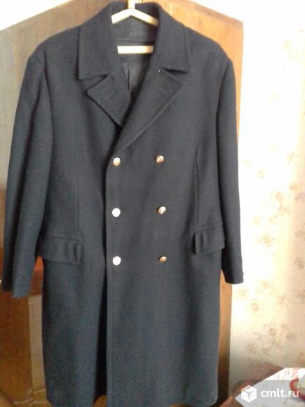 Пальто новое-форма ж/д, утепленное,шерстяной черный драп, р.54-56. Фото 1.